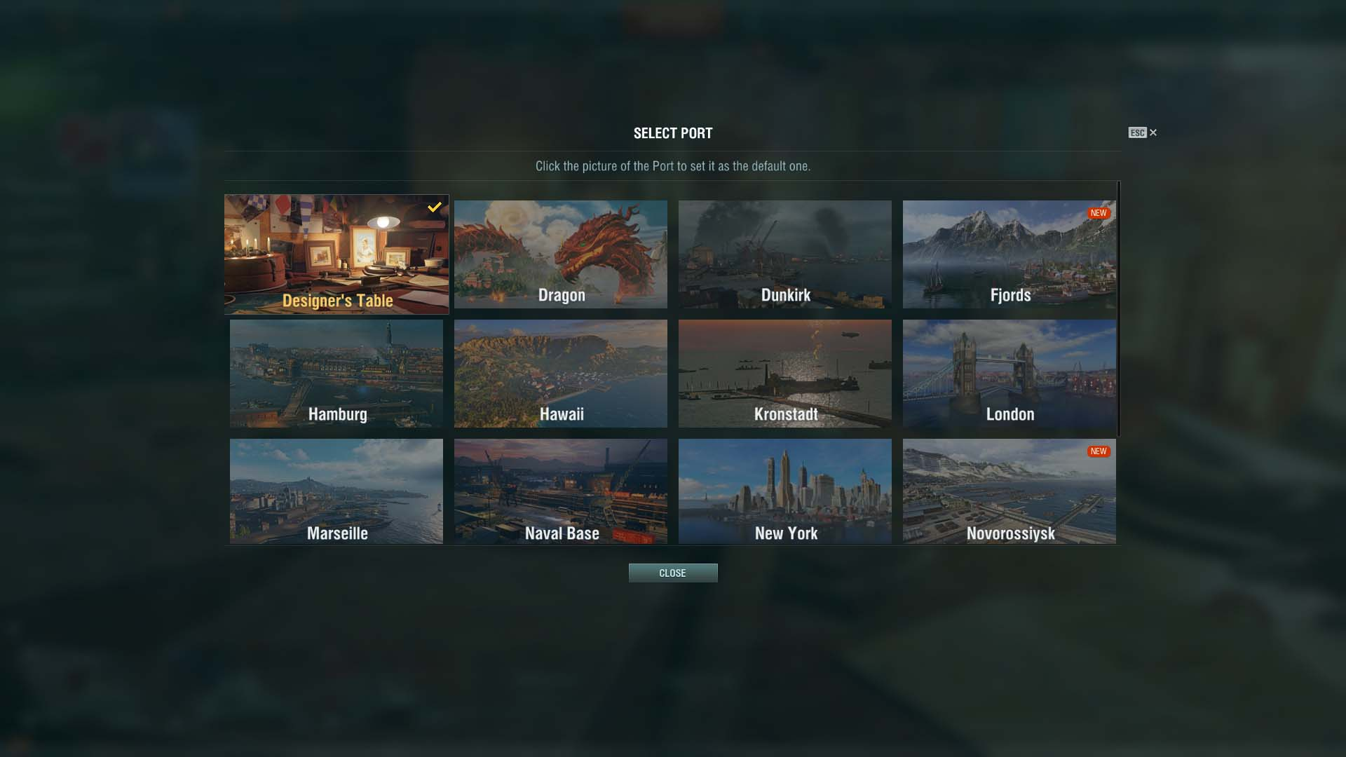 world of warships port selection