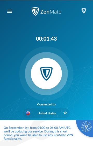 zenmate connection screen